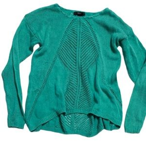 Forever 21 teal knit long sleeve sweater m